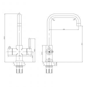 Reginox AMANZI Chrome 3-In-1 Instant Boiling Water Kitchen Swivel Mixer Tap