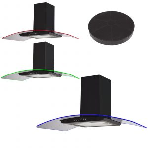 SIA 100cm Black 3 Colour LED Edge Lit Curved Glass Cooker Hood Fan & Filter