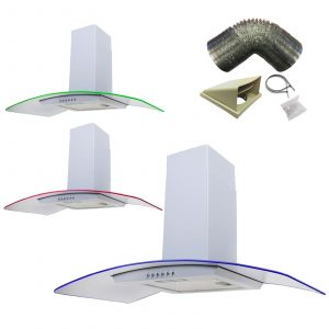 SIA 90cm White LED Edge Lit Curved Glass Cooker Hood Extractor & 1m Ducting Kit