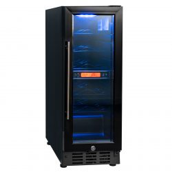 SIA BWC300BL 300mm / 30cm Black Under Counter LED 15 Bottle Wine Cooler Chiller