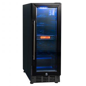 SIA BWC300BL 300mm / 30cm Black Under Counter LED 15 Bottle Wine Cooler Chiller