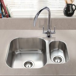 SIA 1.5 Bowl Undermount Stainless Steel Kitchen Sink With Waste Kit W594xD460mm