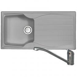 Astracast Sierra 1 Bowl Light Grey Kitchen Sink And Clearwater Creta Mixer Tap