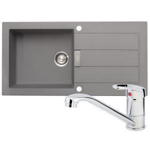 Franke Sirius 1.0 Bowl Grey Reversible Kitchen Sink And Zeno Chrome Mixer Tap