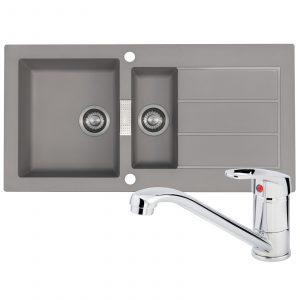 Franke Sirius 1.5 Bowl Grey Reversible Kitchen Sink And Zeno Chrome Mixer Tap