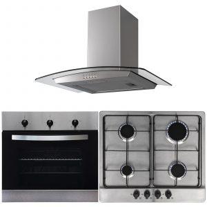 SIA 60cm Single Electric Fan Oven, 4 Burner Gas Hob & Curved Glass Cooker Hood