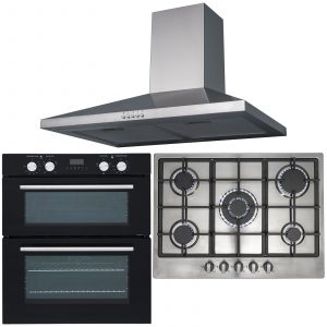 SIA 60cm Black Built Under Double Fan Oven, 70cm 5 Burner Gas Hob & Chimney Hood