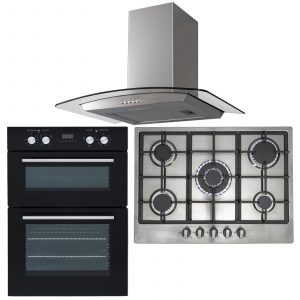 SIA 60cm Black Double Built In Oven, 70cm 5 Burner Gas Hob & Curved Cooker Hood