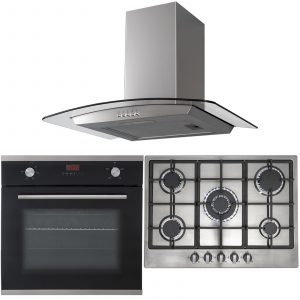 SIA 60cm Black Fan Oven, Stainless Steel 70cm Gas 5 Burner Hob And Curved Hood