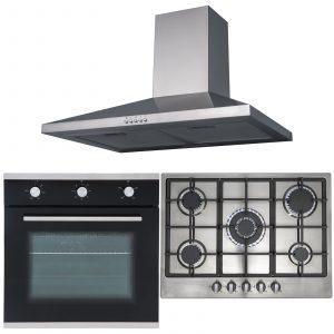 SIA 60cm Black Single Oven, 70cm Stainless Steel 5 Burner Gas Hob & Chimney Hood