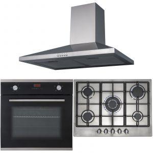 SIA 60cm Black Fan Oven, Stainless Steel 70cm 5 Burner Gas Hob And Chimney Hood