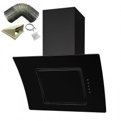 SIA 60cm Touch Control Angled Curved Glass Cooker Hood In Black And 1m Ducting