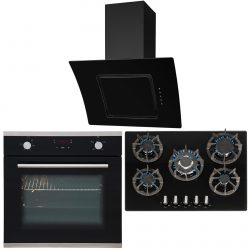 SIA 60cm Single Electric Oven, Black Gas 70cm Hob & Curved Glass Cooker Hood