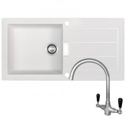 Franke Sirius 1 Bowl White Kitchen Sink & Reginox Brooklyn Swan Neck Chrome Tap