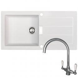 Franke Sirius 1.0 Bowl White Kitchen Sink And Reginox Elbe Swan Neck Chrome Tap