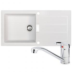 Franke Sirius 1.0 Bowl Reversible White Kitchen Sink And Zeno Chrome Mixer Tap