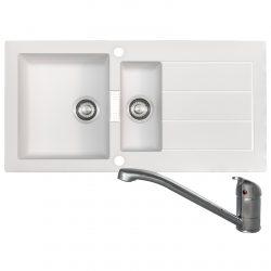 Franke SID651WH Sirius 1.5 Bowl White Kitchen Sink & Clearwater Creta Chrome Tap