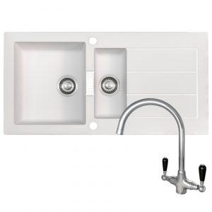 Franke SID651WH Sirius 1.5 Bowl White Kitchen Sink & Reginox Brooklyn Chrome Tap