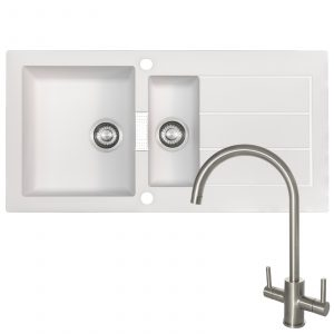 Franke SID651WH 1.5 Bowl White Kitchen Sink And Reginox Genesis Swan Neck Tap