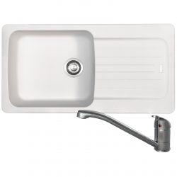 Franke Aveta 1.0 Bowl White Tectonite Kitchen Sink & Clearwater Creta Mixer Tap