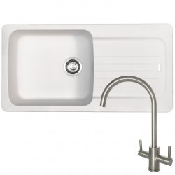 Franke Aveta 1.0 Bowl White Tectonite Kitchen Sink & Reginox Genesis Kitchen Tap