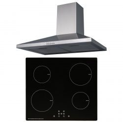 SIA 60cm Black 4 Zone Touch Control Induction Hob & Stainless Steel Cooker Hood