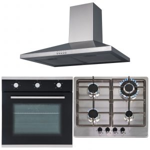 SIA 60cm Single Fan Oven, Stainless Steel 4 Burner Hob And Chimney Cooker Hood