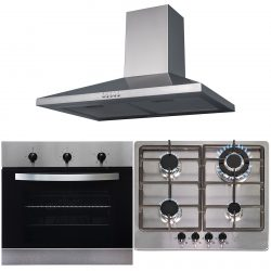 SIA 60cm Stainless Steel Electric True Fan Oven, 4 Burner Gas Hob & Cooker Hood