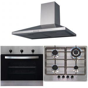 SIA 60cm Stainless Steel Electric True Fan Oven, 4 Burner Gas Hob & Cooker Hood