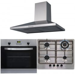 SIA 60cm Stainless Steel True Fan Electric Oven, 4 Burner Gas Hob & Cooker Hood