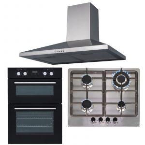 SIA 60cm Built-In Double Oven, Stainless Steel 4 Burner Hob & Cooker Hood