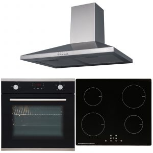 SIA 60cm Black Touch Control Oven, Induction Hob & Stainless Steel Cooker Hood