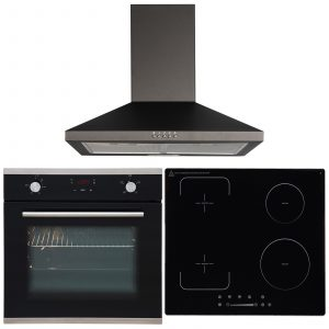 SIA 60cm Black Single Fan Oven, 4 Zone Flexi-Bridge Induction Hob & Cooker Hood