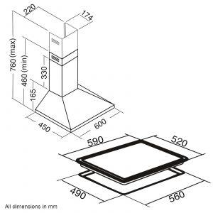 SIA 60cm Black Single Oven, 4 Zone Flexi-Bridge Induction Hob & Cooker Hood Fan