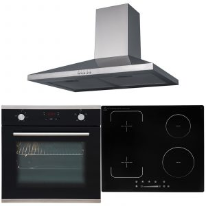 SIA 60cm Black Oven, Flexi-Bridge Induction Hob And Stainless Steel Cooker Hood