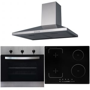 SIA 60cm Stainless Steel Single Oven, Flexi-Bridge Induction Hob And Cooker Hood