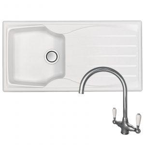 Astracast Sierra 1.0 Bowl Arctic White Kitchen Sink And Reginox Elbe Chrome Tap