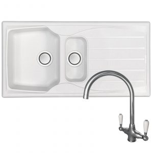 Astracast Sierra 1.5 Bowl Arctic White Kitchen Sink And Elbe Chrome Mixer Tap