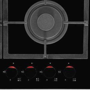Amica PHCZ6511 60cm Black 4 Burner Glass Gas Kitchen Hob & Cast Iron Pan Stands