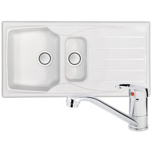 Astracast Sierra 1.5 Bowl Arctic White Kitchen Sink And Zeno Chrome Mixer Tap