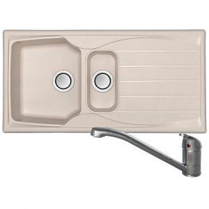 Astracast Sierra 1.5 Bowl Reversible Cream Kitchen Sink And Waste Kit