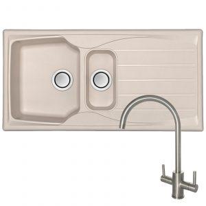 Astracast Sierra 1.5 Bowl Cream Kitchen Sink And Reginox Brushed Steel Mixer Tap