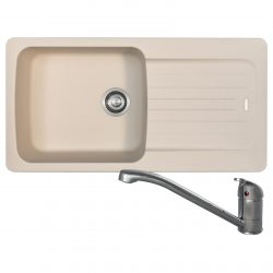 Franke Aveta 1.0 Bowl Cream Tectonite Kitchen Sink & Clearwater Creta Lever Tap