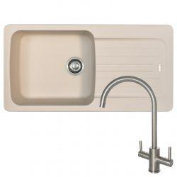 Franke Aveta 1.0 Bowl Cream Tectonite Kitchen Sink And Reginox Genesis Mixer Tap