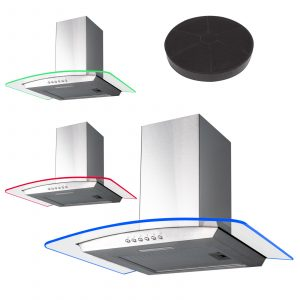 SIA 60cm 3 Colour LED Stainless Steel Curved Glass Cooker Hood & Carbon Filter