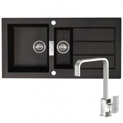 Franke SID651 Sirius 1.5 Bowl Black Kitchen Sink And Reginox Astoria Chrome Tap