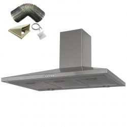 SIA CHL90SS 90cm Stainless Steel Chimney Cooker Hood Kitchen And 1m Ducting