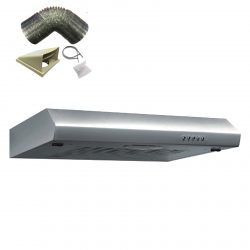 SIA STH60SS 60cm Stainless Steel Visor Cooker Hood Kitchen And 1m Ducting Kit