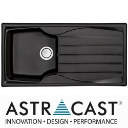Astracast Sierra 1.0 Bowl Reversible Black Kitchen Sink With Pop Up Waste Kit