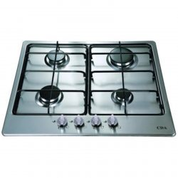 CDA HG6300SS 60cm Stainless Steel 4 Burner Gas Hob LPG Compatible Enamel Stands